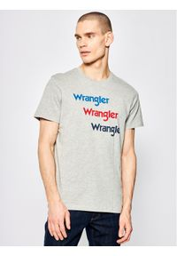 Wrangler T-Shirt Repeat W7D7D3X37 Szary Regular Fit. Kolor: szary