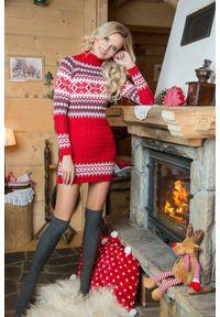 e-margeritka - Ciepła sukienka mini w norweskie wzory - czerwony, uni. Typ kołnierza: golf. Kolor: czerwony. Materiał: akryl. Sezon: zima. Długość: mini