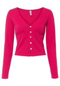 Krótki sweter rozpinany bonprix różowy magenta. Kolor: różowy. Długość: krótkie