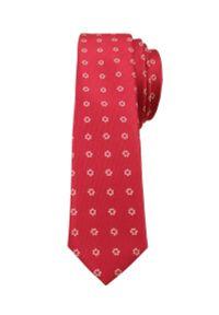 Alties - Czerwony Stylowy Krawat (Śledź) Męski w Białe Kwiatki -ALTIES- 5 cm, Wąski, Motyw Florystyczny. Kolor: czerwony. Materiał: tkanina. Wzór: kwiaty. Styl: elegancki
