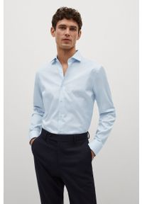 Mango Man - Koszula bawełniana Emporda. Typ kołnierza: kołnierzyk włoski. Kolor: niebieski. Materiał: bawełna