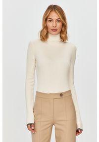 Biały sweter Patrizia Pepe z długim rękawem, z golfem, klasyczny