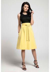 Nommo - Żółta Wizytowa Rozkloszowana Spódnica z Ozdobną Kokardką. Kolor: żółty. Materiał: wiskoza, poliester. Styl: wizytowy
