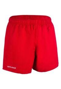 OFFLOAD - Spodenki do rugby R100 z kieszeniami. Kolor: czerwony. Materiał: poliester, materiał. Sport: fitness