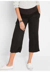 Spodnie culotte ciążowe z lejącej wiskozy bonprix czarny. Kolekcja: moda ciążowa. Kolor: czarny. Materiał: wiskoza