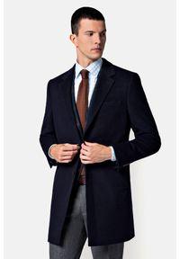 Lancerto - Płaszcz Granatowy Regent. Kolor: niebieski. Materiał: wełna, bawełna, materiał. Sezon: jesień. Styl: elegancki