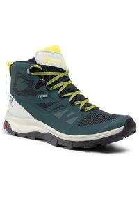 Zielone buty trekkingowe salomon Gore-Tex, trekkingowe