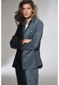 Figl - Klasyczna Koszula Damska - Niebieska. Kolor: niebieski. Materiał: elastan, nylon, poliester. Styl: klasyczny