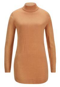 Brązowy sweter bonprix ze stójką