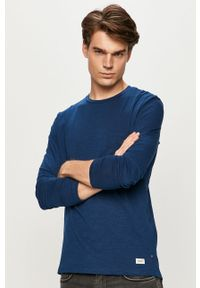 Niebieska koszulka z długim rękawem PRODUKT by Jack & Jones z okrągłym kołnierzem, casualowa