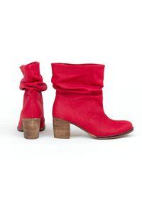 Czerwone botki Zapato z cholewką, eleganckie