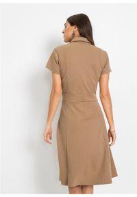 Sukienka z plisą guzikową bonprix beżowy. Kolor: beżowy