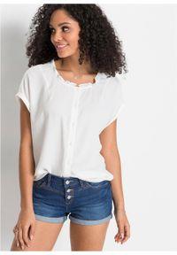 Bluzka z falbanką, oversized bonprix biały. Kolor: biały