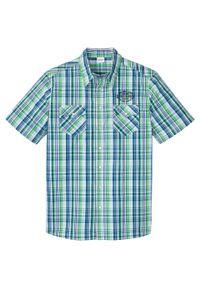 Koszula z krótkim rękawem bonprix soczysty zielony - lazurowy w kratę. Kolor: zielony. Długość rękawa: krótki rękaw. Długość: krótkie. Wzór: haft