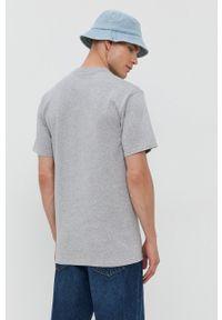 HUF - T-shirt bawełniany. Okazja: na co dzień. Kolor: szary. Materiał: bawełna. Wzór: nadruk. Styl: casual