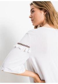 T-shirt z frędzlami bonprix biały. Kolor: biały