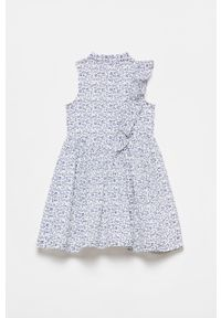 Biała sukienka OVS mini, bez rękawów, w kwiaty, rozkloszowana