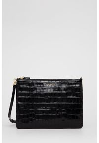 Coccinelle - Torebka skórzana IV3 Mini Bag. Kolor: czarny. Materiał: skórzane. Rodzaj torebki: na ramię