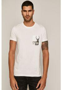 Biały t-shirt medicine z nadrukiem, z okrągłym kołnierzem