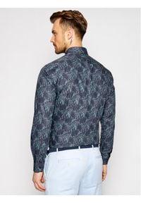 Tommy Hilfiger Tailored Koszula Teal Floral MW0MW16487 Granatowy Regular Fit. Kolor: niebieski