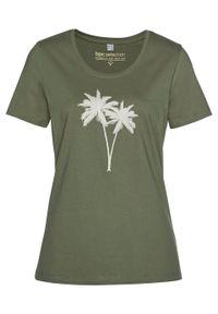 T-shirt bonprix oliwkowo-złoty. Kolor: zielony