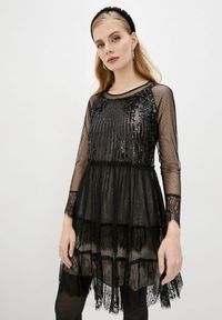 Czarna sukienka TwinSet wizytowa, z haftami