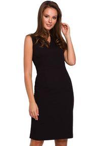 Makover - Klasyczna elegancka sukienka midi z dekoltem V. Okazja: na randkę, do pracy, na imprezę. Długość rękawa: bez rękawów. Styl: elegancki, klasyczny. Długość: midi #1