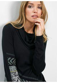 Długi sweter bonprix czarny. Kolor: czarny. Długość: długie
