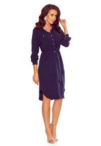 Numoco - Granatowa Sukienka o Koszulowym Kroju Szmizjerka. Kolor: niebieski. Materiał: elastan, poliester. Typ sukienki: szmizjerki, koszulowe