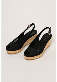 Czarne sandały TOMMY HILFIGER na klamry, z okrągłym noskiem