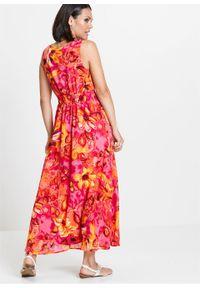 Długa sukienka szyfonowa bonprix ciemnoróżowy z nadrukiem. Kolor: różowy. Materiał: szyfon. Wzór: nadruk. Styl: elegancki. Długość: maxi