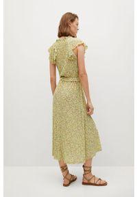 mango - Mango - Sukienka GRACIELA. Kolor: żółty. Materiał: włókno, materiał. Długość rękawa: krótki rękaw. Typ sukienki: rozkloszowane