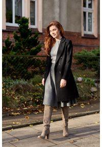 Marie Zélie - Płaszcz wełniany Debora czarny. Kolor: czarny. Materiał: wełna. Wzór: motyw zwierzęcy, ze splotem. Sezon: zima. Styl: klasyczny #5