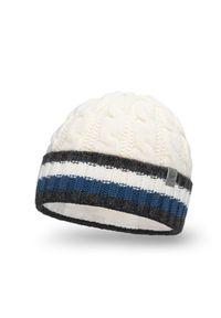 Ciepła czapka męska z wywinięciem PaMaMi - Ecru. Materiał: poliamid, akryl