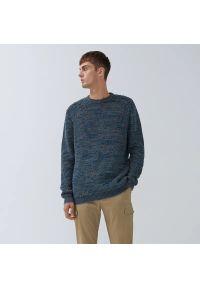House - Melanżowy sweter - Granatowy. Kolor: niebieski. Wzór: melanż