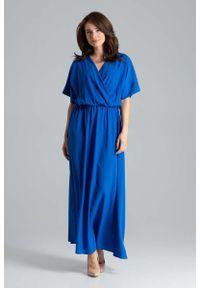 Niebieska sukienka Katrus w kwiaty, kopertowa, maxi