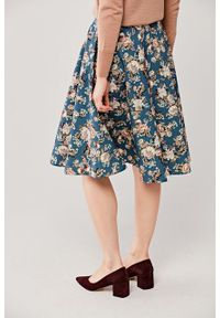 Marie Zélie - Spódnica Carissa Citrinella. Materiał: bawełna, dzianina, materiał, elastan, skóra. Wzór: kwiaty, aplikacja. Styl: elegancki