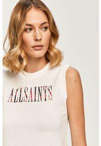 Biała bluzka AllSaints casualowa, na co dzień, z nadrukiem, z okrągłym kołnierzem