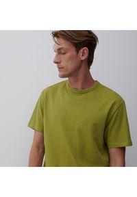 Reserved - Bawełniany t-shirt BASIC - Zielony. Kolor: zielony. Materiał: bawełna