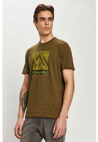 Oliwkowy t-shirt columbia casualowy, z nadrukiem, na co dzień
