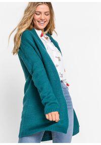 Długi sweter bez zapięcia bonprix niebieskozielony. Kolor: niebieski. Długość: długie