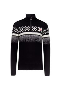 Czarny sweter Dale of Norway z aplikacjami, sportowy, krótki