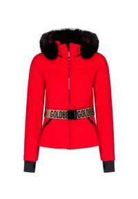 Czerwona kurtka narciarska Goldbergh w kolorowe wzory, na zimę, Primaloft
