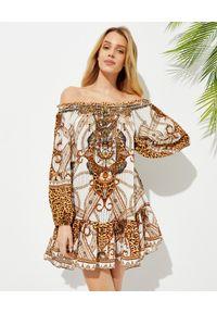 Camilla - CAMILLA - Jedwabna sukienka mini Mindy Your Manor. Kolor: biały. Materiał: jedwab. Wzór: motyw zwierzęcy, aplikacja, nadruk. Długość: mini