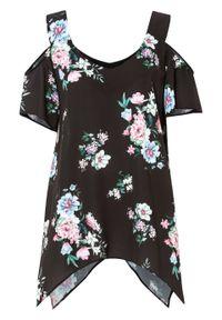 Bluzka z nadrukiem bonprix czarny w kwiaty. Kolor: czarny. Wzór: kwiaty, nadruk