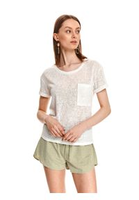 TOP SECRET - Luźny t-shirt z kieszonką. Kolor: biały. Materiał: tkanina, bawełna. Długość rękawa: krótki rękaw. Długość: krótkie. Styl: sportowy