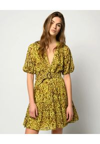 Pinko - PINKO - Żółta mini sukienka w cętki Nuvoloso. Kolor: brązowy. Materiał: bawełna, zamsz. Wzór: aplikacja. Styl: boho. Długość: mini