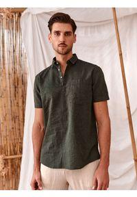 TOP SECRET - Koszula z krótkim rękawkiem, z lnem. Kolor: zielony. Materiał: len. Długość rękawa: krótki rękaw. Długość: krótkie. Sezon: lato #3