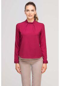 Czerwona bluzka z długim rękawem Lanti ze stójką