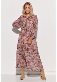 Makadamia - Wzorzysta Maxi Sukienka z Dekoracyjnym Dekoltem V - Szyfon 9. Materiał: szyfon. Wzór: kropki, kwiaty. Długość: maxi